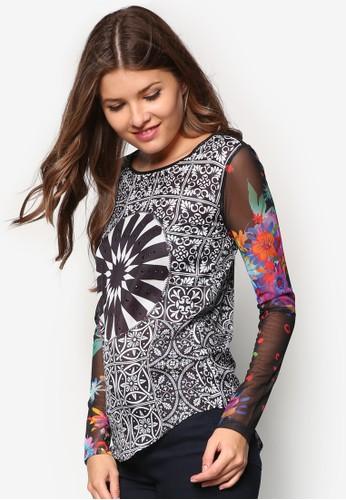 網紗拼袖印花長袖衫, 服飾zalora 評價, 上衣