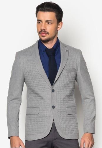 縫線格紋貼zalora 心得身西裝外套, 服飾, 外套