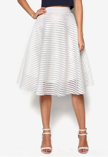 網眼條紋傘狀及膝短裙, 服飾, 及zalora開箱膝裙