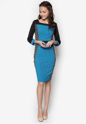 拼色條紋及膝zalora 心得連身裙, 服飾, 服飾
