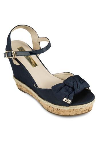 Flanders zalora 心得素色蝴蝶結厚底涼鞋, 女鞋, 楔形涼鞋