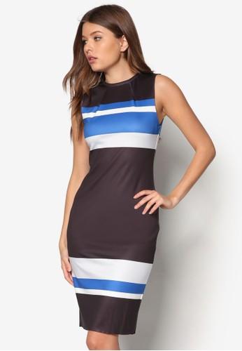 條紋zalora退貨及膝連身裙, 服飾, 緊身洋裝