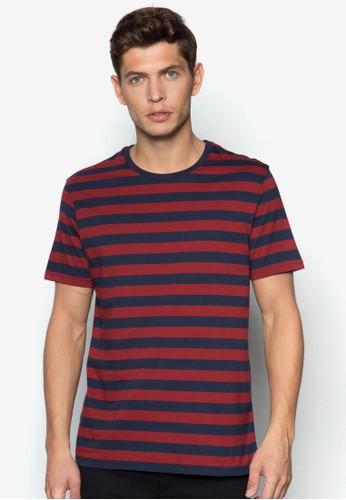 紅藍條紋TEE, 服飾zalora 評價, T恤