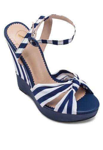 條紋踝帶楔zalora 評價形涼鞋, 女鞋, 楔形涼鞋