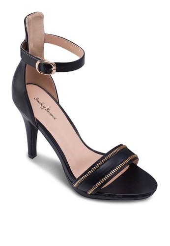 拉鍊一字帶高跟涼鞋zalora 心得, 女鞋, 高跟