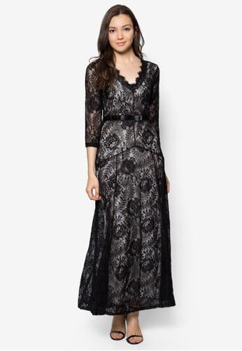 復古風蕾絲長zalora鞋子評價袖長洋裝, 服飾, 服飾