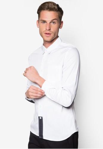 Benjamin 撞色拼接長袖襯衫, 服飾, 襯zalora 台灣衫