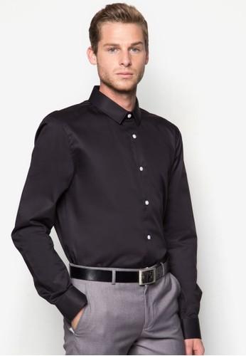 棉質修身長zalora 心得袖襯衫, 服飾, 襯衫