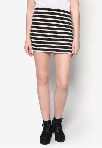 彈性條紋短裙, 服zalora 心得飾, 裙子