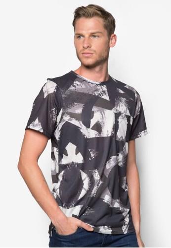 抽象水彩刷T zalora退貨恤, 服飾, 服飾