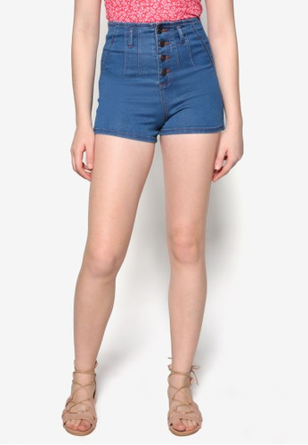 Esther 單排扣高腰丹寧短褲,zalora鞋 服飾, 休閒短褲