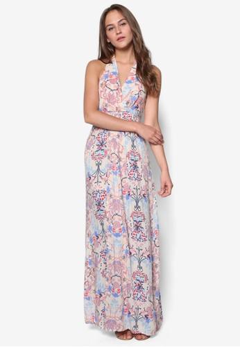 Thea 花zalora開箱卉裹飾挖背長洋裝, 服飾, 長洋裝