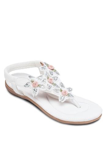 花zalora 鞋評價飾繞踝夾腳涼鞋, 女鞋, 涼鞋
