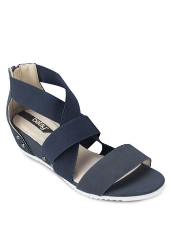 撞色包跟厚底涼鞋, 女鞋, 楔zalora 台灣形涼鞋