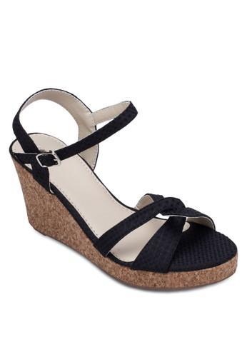 多帶繞踝楔形跟涼鞋, 女zalora鞋鞋, 鞋