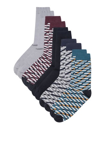 zalora 鞋評價五入印花襪子組, 服飾, 服飾