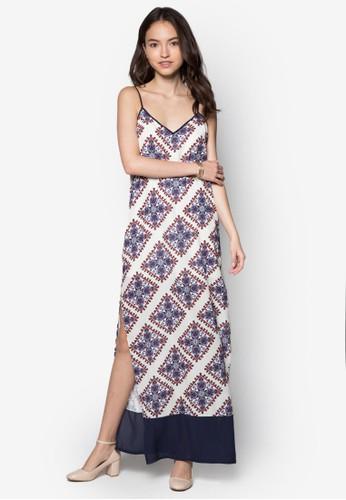 印花開衩長洋裝, 服飾zalora退貨, 洋裝