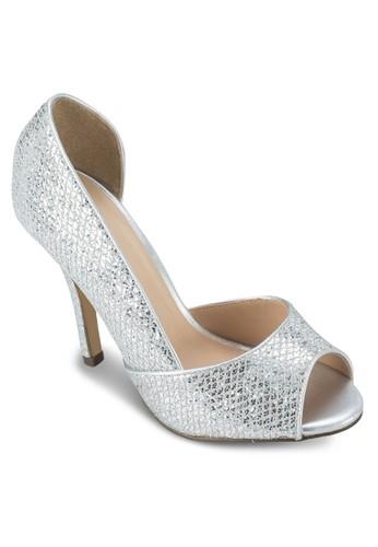 Gralizalora 心得ni 金屬感露趾側空高跟鞋, 女鞋, 魚口鞋