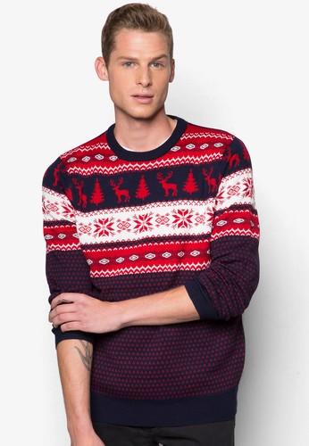 聖誕印花針織zalora鞋衫, 服飾, 外套