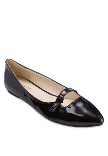 Bree 亮面尖頭平底鞋, 女zalora 心得鞋, 鞋