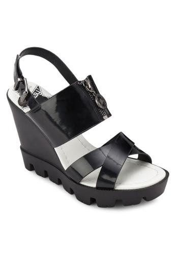 zalora 鞋評價交叉帶拉鍊楔形涼鞋, 女鞋, 鞋