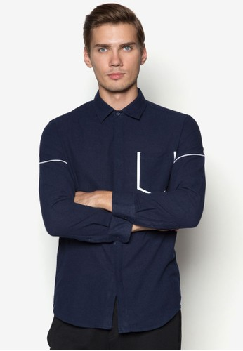 XM-滾邊口袋長袖襯衫,zalora退貨 服飾, 服飾