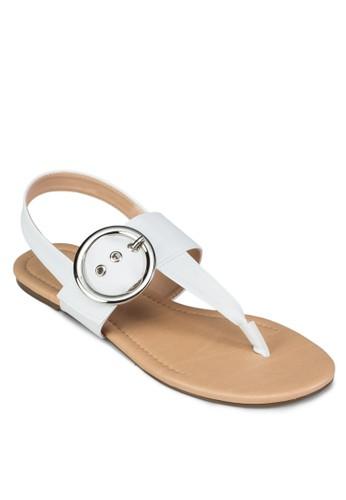 扣環T 字帶繞踝涼鞋, 女鞋,zalora 評價 鞋