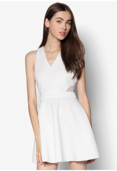 削背網紗拼接洋裝