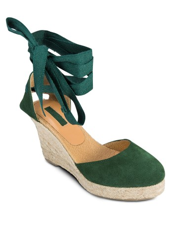 纏繞zalora開箱踝帶麻跟楔形鞋, 女鞋, 鞋