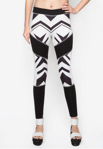 抽象印花zalora 鞋評價貼身長褲, 服飾, 內搭褲