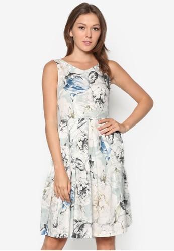 花卉印花裹飾連身裙, zalora 台灣服飾, 正式洋裝