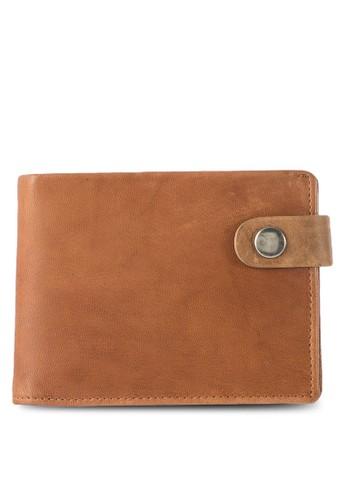 撞色鈕扣帶對折皮夾, 飾品zalora開箱配件, 皮革