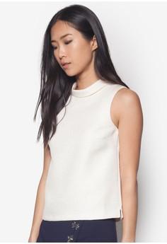 Premium 高領緹花無袖上衣