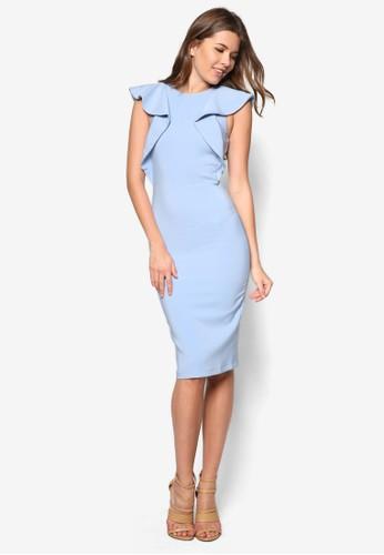 荷葉zalora 鞋評價蓋袖鉛筆連身裙, 服飾, 裙子
