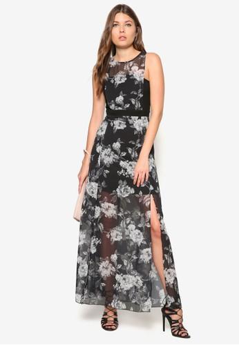 花卉透膚長洋裝, 服飾, zalora 心得洋裝