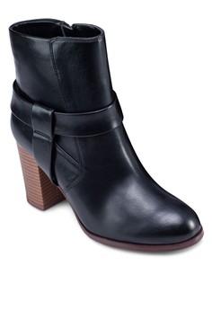 仿皮粗跟低筒踝靴