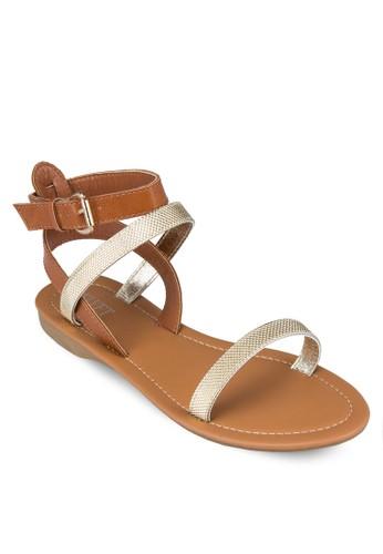 Vzalora鞋子評價iola 拼色一字帶繞踝涼鞋, 女鞋, 涼鞋