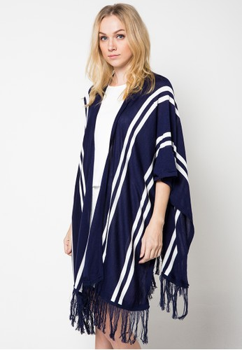 Chic Simple Buttoned Stripy Hem Fringed Poncho