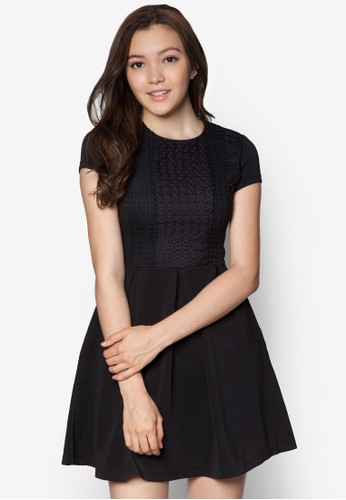 暗紋褶藝洋裝, 服zalora 心得飾, 服飾