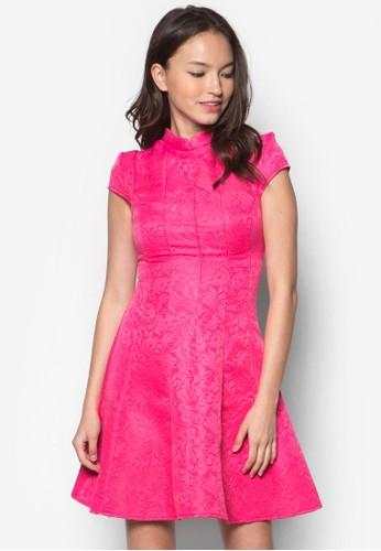 Ai 巴洛zalora 台灣克印花中式領連身裙, 服飾, 正式洋裝