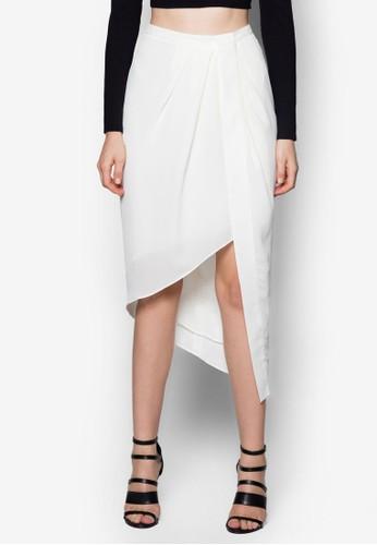 不對稱折疊裹飾及膝短裙, 服飾, 服zalora鞋飾