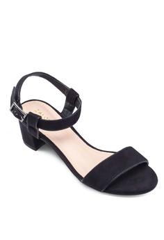 閃飾粗跟涼鞋