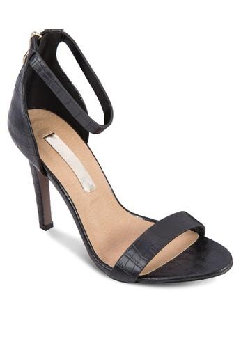 Emelia 鱷魚紋繞踝高跟鞋, 女鞋, 細帶高zalora 心得跟鞋