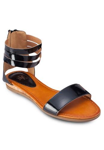 繞踝拉鍊平底涼鞋, 女鞋,zalora 心得 鞋
