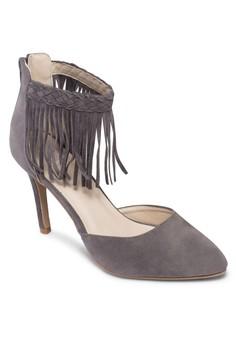 流蘇踝帶側鏤空高跟鞋