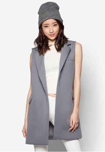 太空棉無袖長版外zalora 心得套, 服飾, 服飾