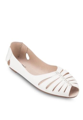 鏤空露趾漆zalora鞋皮平底鞋, 女鞋, 鞋