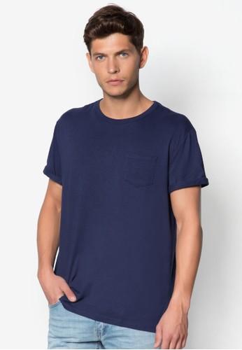 口袋捲袖T 恤, zalora鞋子評價服飾, T恤