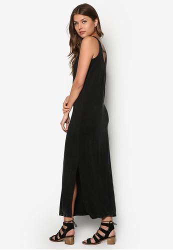側開衩挖背長洋裝zalora 鞋評價, 服飾, 夏日洋裝