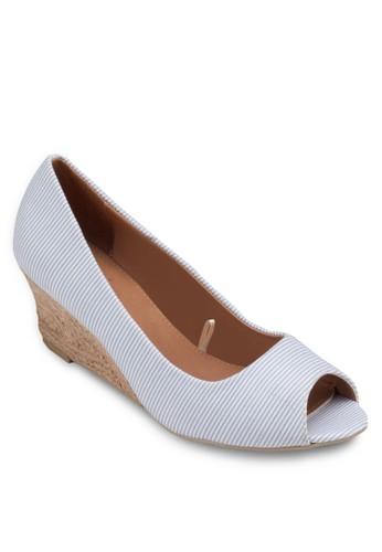 Mazalora鞋子評價rcelle 條紋楔形麻跟鞋, 女鞋, 厚底楔形鞋